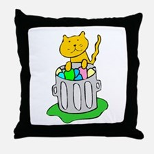 Cat In Garbage Throw Pillow