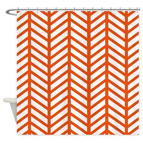 Attractive Orange Lattice Weave Shower Curtain  Orange Shower Curtain