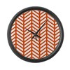 Orange Lattice Weave Large Wall Clock