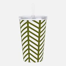 Drab Green Chevron Weave Acrylic Double-wall Tumbl