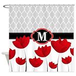 Red Tulip Quatrefoil Shower Curtain