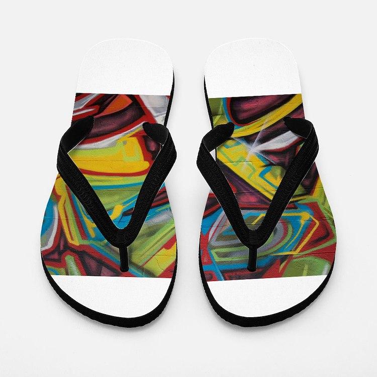 Colors vibrant graffiti art Flip Flops