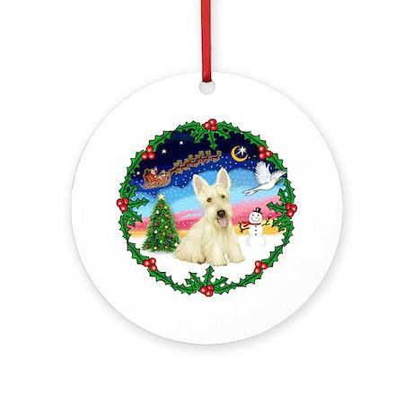 Holly & Wheaten Scotty Ornament (Round)