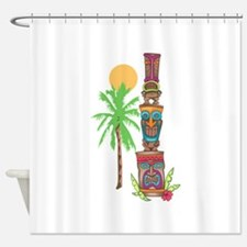 TIKI TOTEM SCENE Shower Curtain