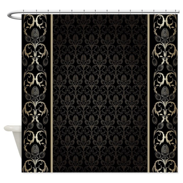 Cafe Au Lait Bedroom With Damask Wallpaper: Black And Gold Damask Shower Curtain By DecorativeDesigns