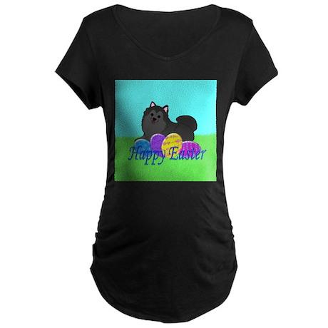Black Pomeranian Maternity Dark T-Shirt