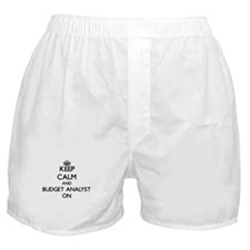 Keep Calm and Budget Analyst ON Boxer Shorts