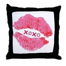 Pink Lips XOXO Throw Pillow