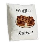 Waffles Junkie Burlap Throw Pillow