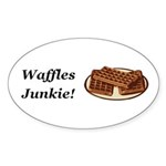 Waffles Junkie Sticker (Oval 50 pk)