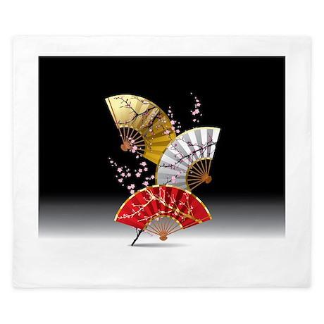 Japanese Cherry Fans King Duvet By Fantasyartdesigns