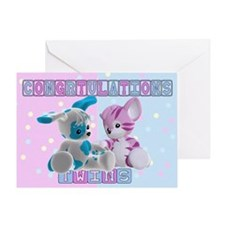 Twin Baby Congratulations Card Greeting Cards