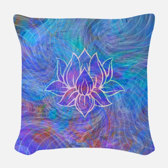 Lotus Waves Woven Throw Pillow