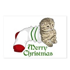 MERRY CHRISTMAS CAT Postcards (Package of 8)