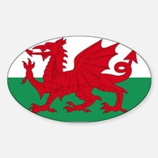 Wales flag decorative Sticker (Oval)