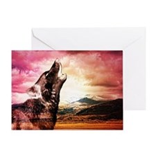 Ghost wolf howling winter note card Greeting Cards