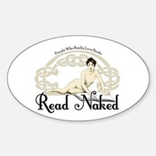 Read Naked Oval Stickers