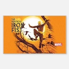 Iron Fist Green Painting Sticker (Rectangle)