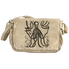 Black Exquisite Ancient Octopus Messenger Bag