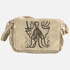Black Exquisite Ancient Octopus Messenger Bag