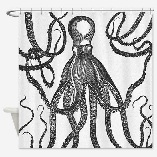 Black Exquisite Ancient Octopus Shower Curtain
