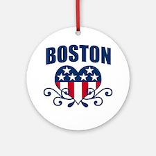 Boston  Stars and Stripes Hea Ornament (Round)