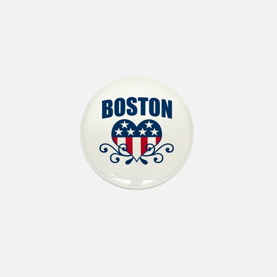 Boston Stars and Stripes Hea Mini Button