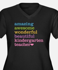 Kindergarten Women's Plus Size V-Neck Dark T-Shirt