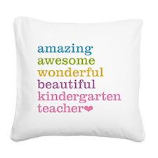 Kindergarten Teacher Square Canvas Pillow