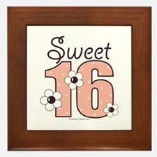 Sweet Sixteen 16th Birthday Pink Brown Framed Tile