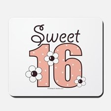 Sweet Sixteen 16th Birthday Pink Brown Mousepad