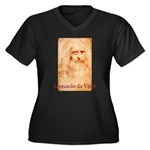 Leonardo da Vinci Women's Plus Size V-Neck Dark T-