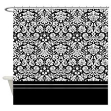 Black White Damask Shower Curtain