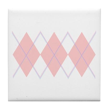 """Pink Argyle"" Tile Coaster"