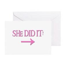 SHE DID IT! (right) Greeting Cards (Pk of 10)