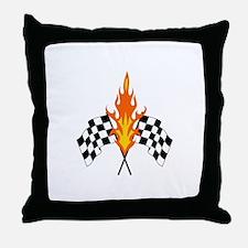 FLAMING RACING FLAGS Throw Pillow