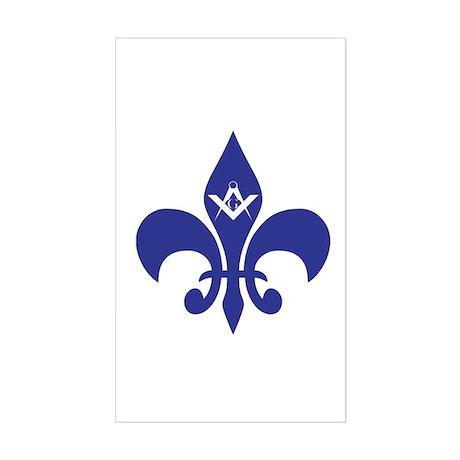 Masonic Fleur De Lis - Blue Rectangle Sticker