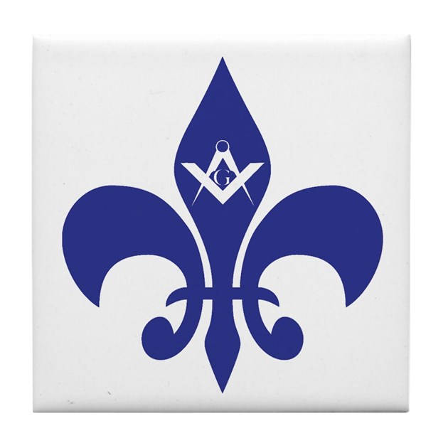 Masonic Fleur De Lis Blue Tile Coaster By Masons