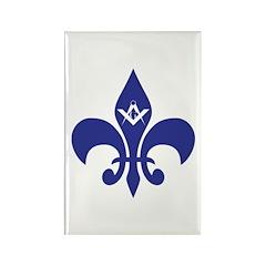 Masonic Fleur De Lis - Blue Rectangle Magnet (100