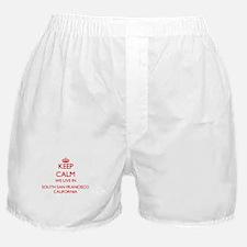 Keep calm we live in South San Franci Boxer Shorts
