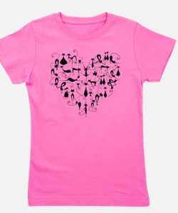 Heart Cats Girl's Tee