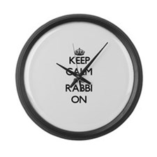 Keep Calm and Rabbi ON Large Wall Clock