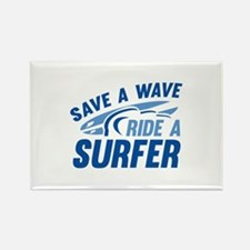 Save A Wave Ride A Surfer Rectangle Magnet