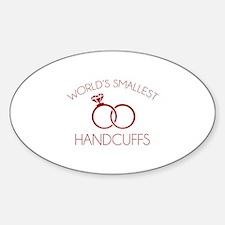 World's Smallest Handcuffs Sticker (Oval)
