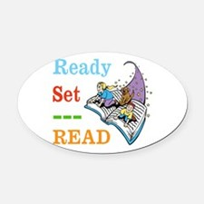 Ready Set Read Oval Car Magnet