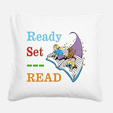Ready Set Read Square Canvas Pillow