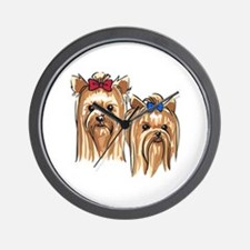 YORKSHIRE TERRIER HEADS Wall Clock