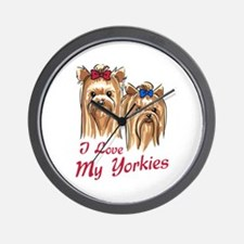 I LOVE MY YORKIES Wall Clock