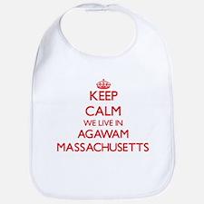 Keep calm we live in Agawam Massachusetts Bib