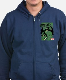 Iron Fist Green Panels Zip Hoodie